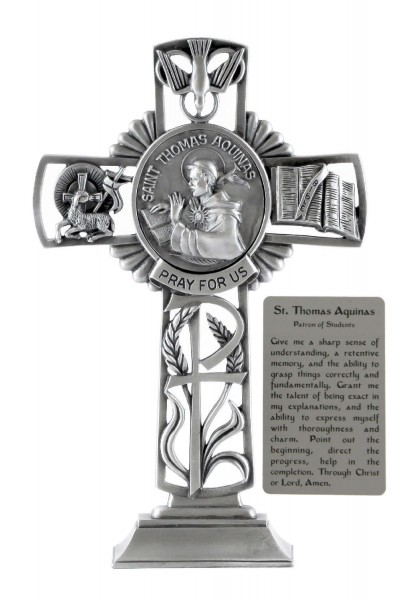 Saint Thomas Aquinas Standing Cross in Pewter 6 Inches - Pewter