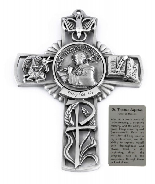 Saint Thomas Aquinas Wall Cross in Pewter 5 Inches - Pewter