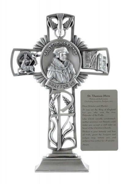 Saint Thomas More Standing Cross in Pewter 6 Inches - Pewter