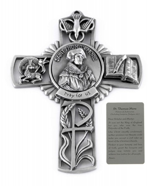 Saint Thomas More Wall Cross in Pewter 5 Inches - Pewter