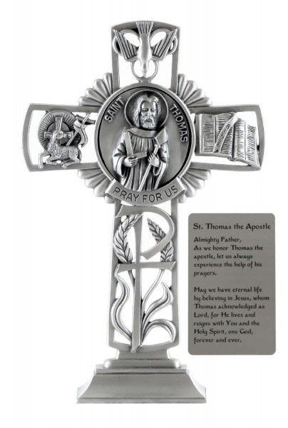 Saint Thomas the Apostle Standing Cross in Pewter 6 Inches - Pewter