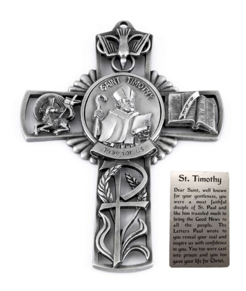 Saint Timothy Wall Cross in Pewter 5 Inches - Pewter