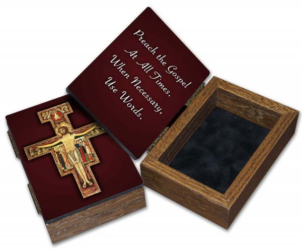 San Damiano Cross Keepsake Box - Brown