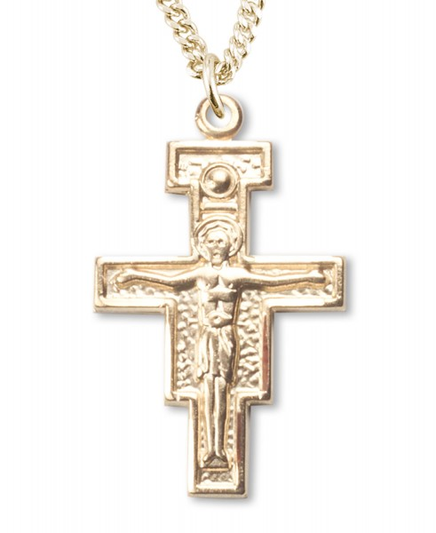 San Damiano Crucifix Pendant Gold Plated Sterling Silver - Gold