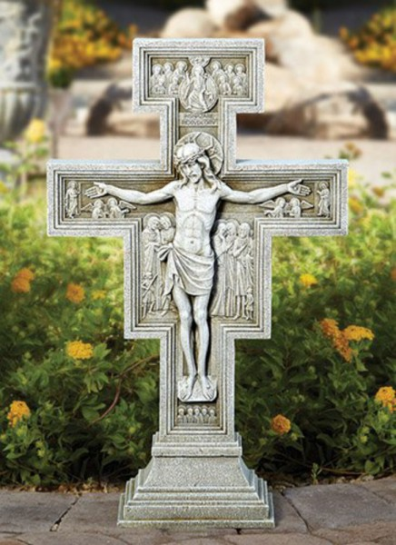 "San Damiano Garden Crucifix 23.5"" High - Stone Finish"