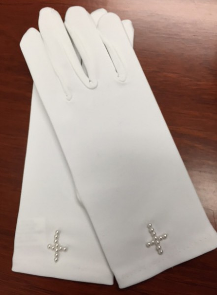 Satin Communion Gloves with Faux Pearl Cross - White