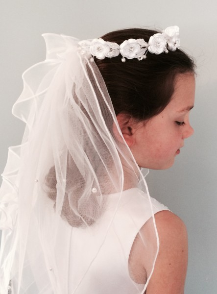 Satin Flower Rosette Wreath Veil First Communion - White