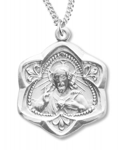 Six Sided Scapular Medal Sterling Silver Necklace - Sterling Silver