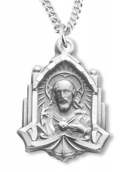 Cathedral Scapular Medal Sterling Silver Necklace - Sterling Silver