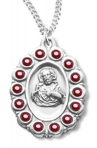 Red Glass Stone Border Scapular Medal Sterling Silver - Silver | Red