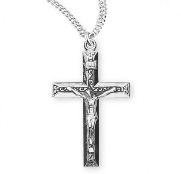 Scroll Textured Crucifix Necklace Sterling Silver - Sterling Silver