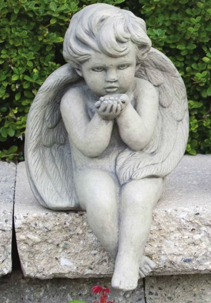 Seated Angel Blowing Kiss Statue 12 Inches - Classic Sand Stone Finish