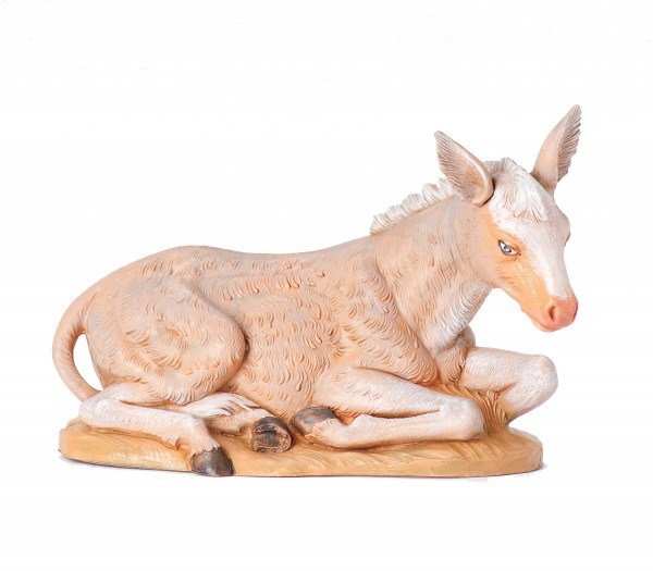 "Seated Donkey Nativity Statue - 12"" scale - Multi-Color"