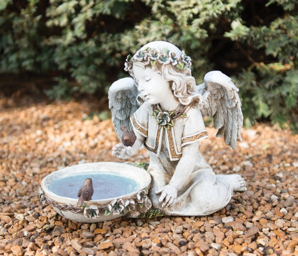 Seated Garden Angel with Solar Light Bird Bath Statue 10 from