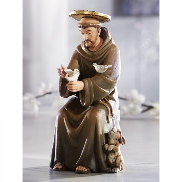 Seated Saint Francis of Assisi 6 Inch High Statue - Full Color