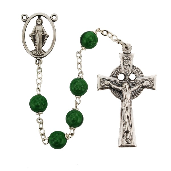 Shamrock Glass Rosary Pewter - Green