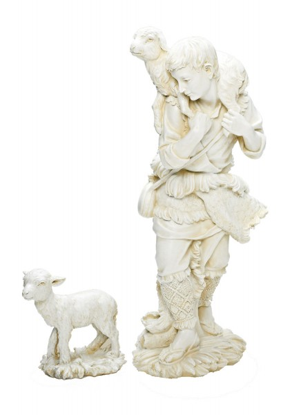 "Shepherd & Lamb Statue in White 23.75"" H for 27"" Scale Nativity Set - Ivory"