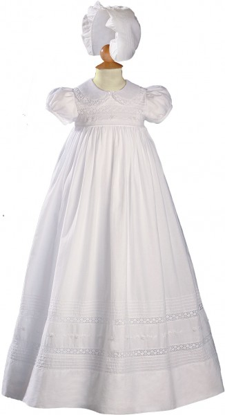 Short Sleeve Cotton and Cluny Lace Baptism Gown - White