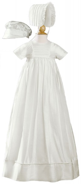 Short Sleeve Silk Dupioni Family Christening Gown - White