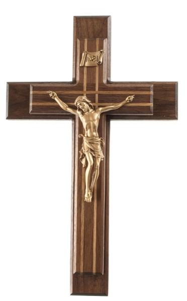 "Sick Call Crucifix Set with Oak Inlay and Gold Corpus 13"" - Brown"