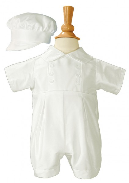 Silk Baptism Romper with Button Accents - White