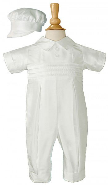 Silk Dupioni Baptism Coverall with Peter Pan Collar - White