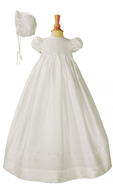Silk Dupioni Baptism Gown with Smocked Bodice - White