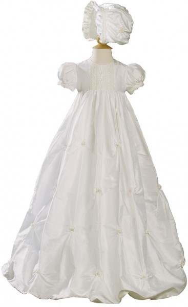 Silk Dupioni Bubble Christening Gown - White