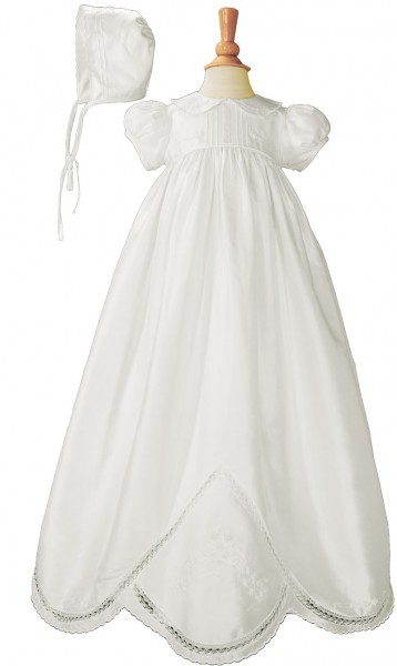 Silk Dupioni Christening Gown with Hand Embroidery - White