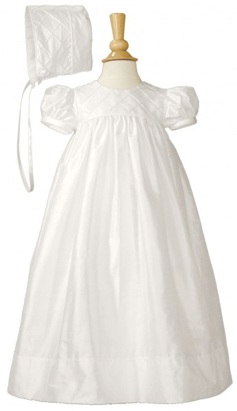 Silk Dupioni Christening Gown with Lattice Bodice - White