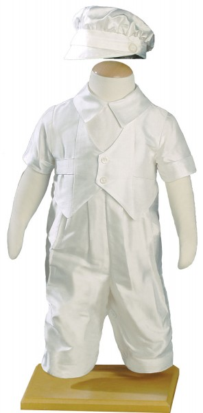 Silk Dupioni Vested Coverall - White