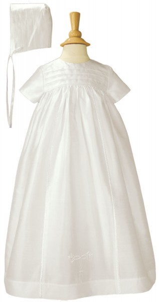 Silk Family Christening Gown with Embroidered Cross - White
