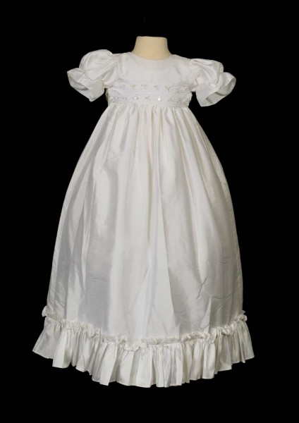 Silk Pleated Baptism Gown  - White