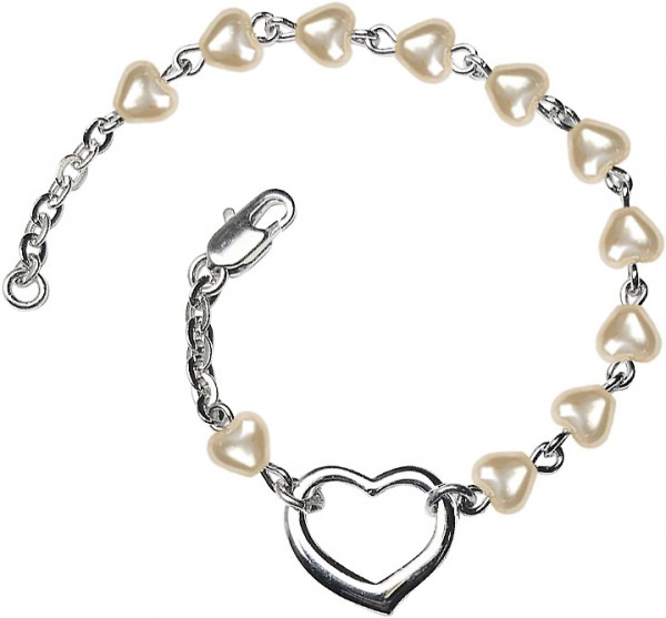 Girls Silver Heart Bracelet 4mm Heart Shaped Pearl Beads - Pearl White