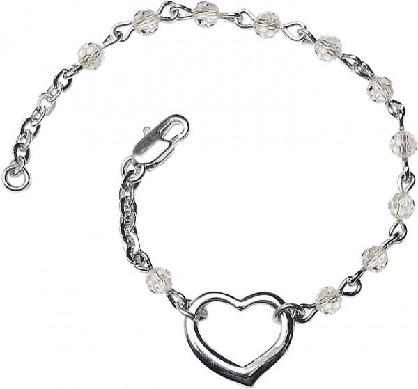 Crystal Girls Silver Heart Bracelet 4mm Swarovski Crystal Beads