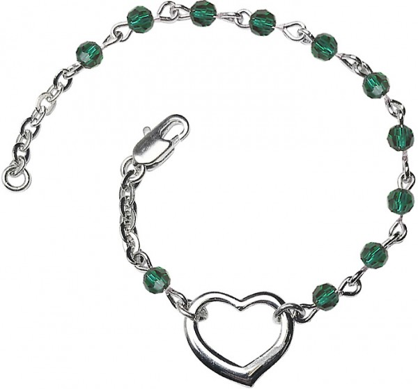 Girls Silver Heart Bracelet 4mm Swarovski Crystal Beads - Emerald Green