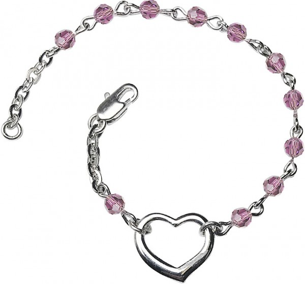 Girls Silver Heart Bracelet 4mm Swarovski Crystal Beads - Light Amethyst