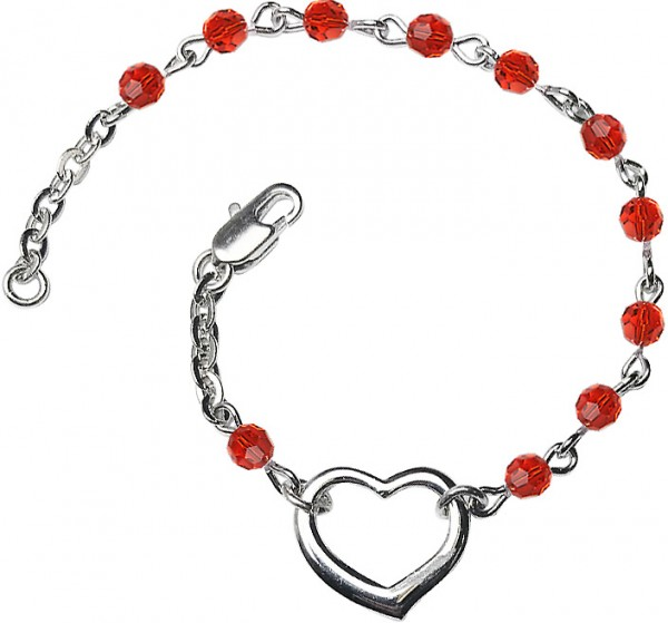 Girls Silver Heart Bracelet 4mm Swarovski Crystal Beads - Ruby Red