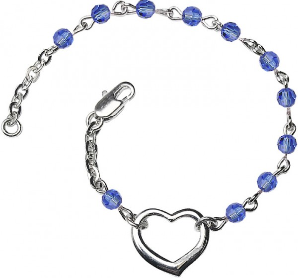 Girls Silver Heart Bracelet 4mm Swarovski Crystal Beads - Sapphire