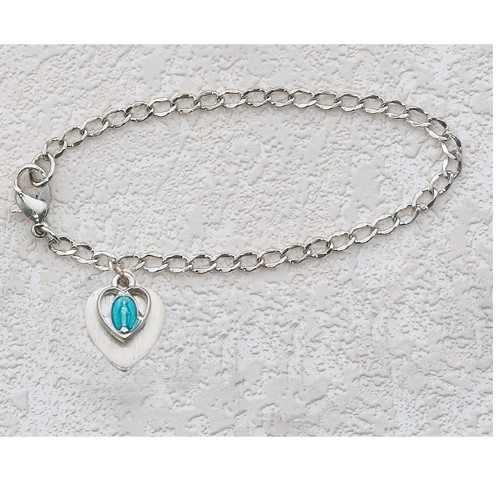 "Silver Heart and Miraculous First Communion Bracelet - 6 1/2""L - Silver"