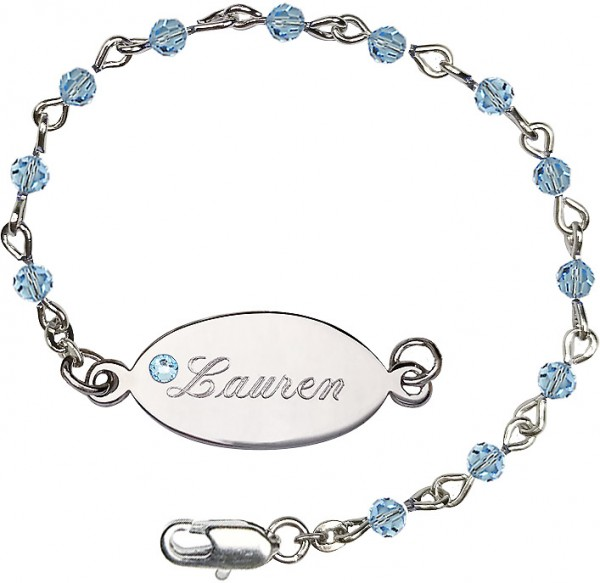 Girls Swarovski Crystal Bracelet 4mm Beads and Nameplate  - Aqua