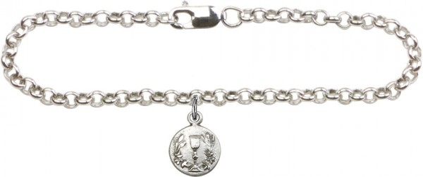 Silver Plated Rolo Bracelet with Communion Chalice Medal - Sterling Silver