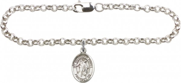 Silver Plated Rolo Bracelet with Guardian Angel Medal - Sterling Silver