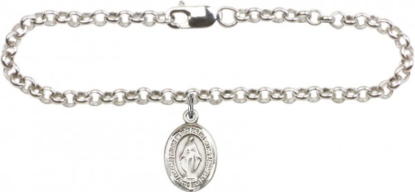 Silver Plated Rolo Bracelet with Miraculous Medal - Sterling Silver