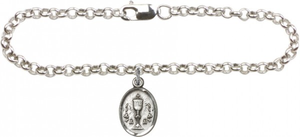 Silver Plated Rolo Bracelet with Sterling Chalice Medal - Sterling Silver