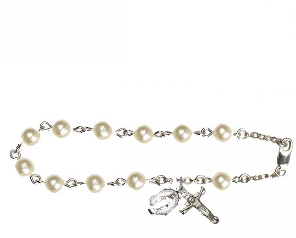 Silver Plated Rosary Bracelet with Pearl Beads - Silver