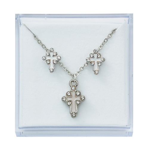 Silvertone Cross and Earring Set - Silver tone