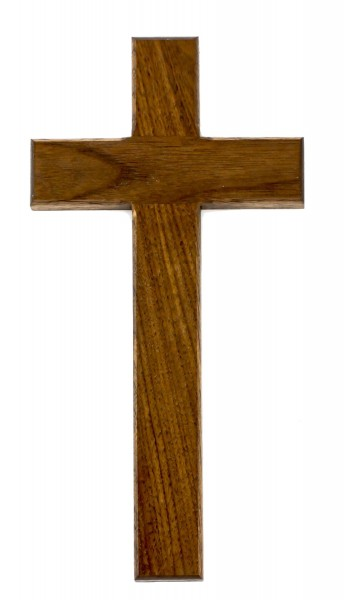 "Simple Walnut Wall Cross with Square Edge 10"" - Brown"