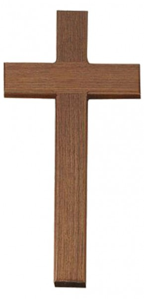 "Simple Walnut Wall Cross with Square Edge 15"" - Brown"