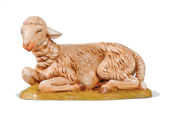 Sitting Sheep Figure for 18 inch Nativity - Brown